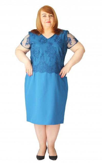 Sukienka koronkowa dekolt okrągły plus size (rozm. 44-52) polski producent