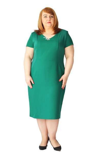 Zielona sukienka w wyszczuplająca plus size (rozm. 44-52) polski producent