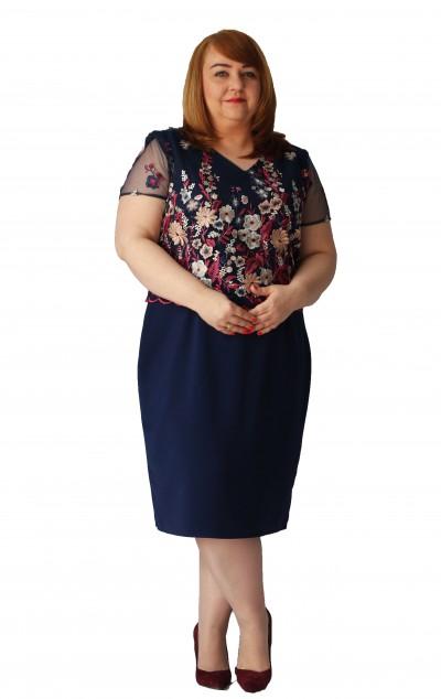 Elegancka sukienka z koronkową górą plus size (rozm. 44-52) polski producent