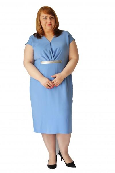 Niebieska sukienka wyszczuplająca plus size (rozm. 44-52) polski producent