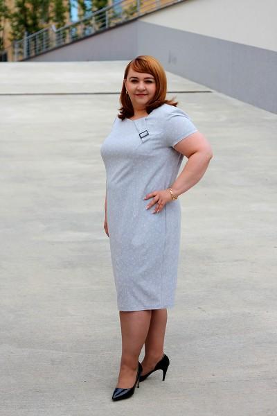 Elegancka, popielata sukienka dla puszystej (44-52)