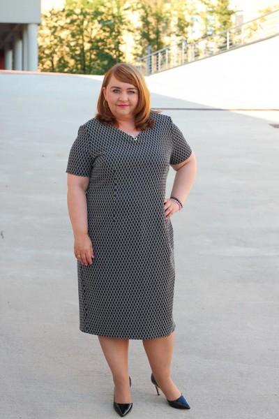 Sukienka wyszczuplająca midi krótki rękaw plus size (rozm. 44-52) polski producent