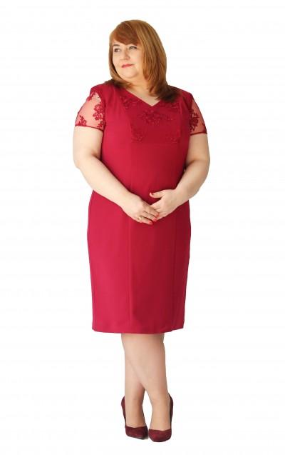 Bordowa sukienka koronkowa dekolt okrągły plus size (rozm. 44-52) polski producent