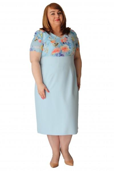 Niebieska sukienka w kwiatki odcinana pod biustem plus size (rozm. 44-52) polski producent