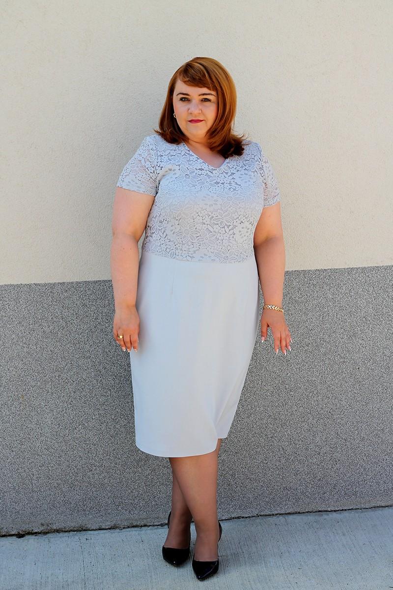 42d9869f94 Elegancka sukienka z koronkową górą plus size (rozm. 44-52) polski producent